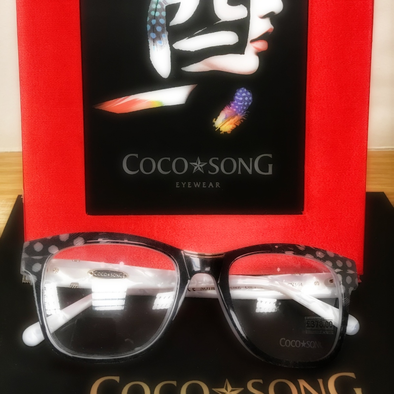 Coco Song hand make their frames using layers of coloured acetate as well as real feathers and semi precious stones. Come see them in our Rugeley and Lichfield practices