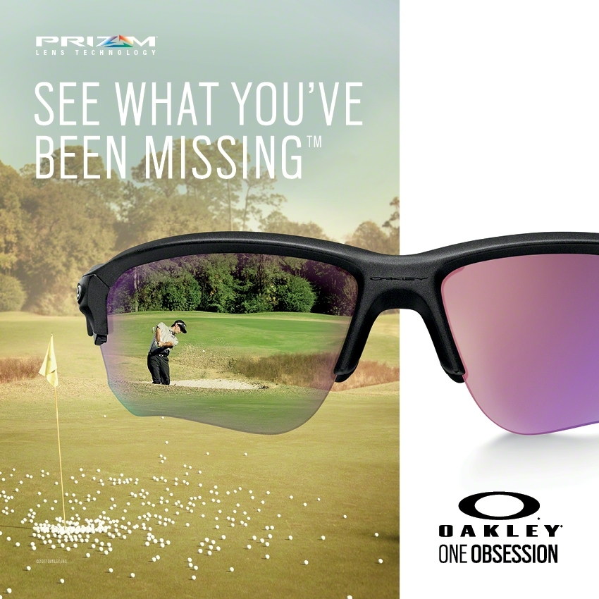 Oakley Prizm Golf, colour enhancement lenses which can improve your read of the green and fairways as well as improve viability during flight.